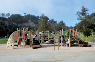 An accessible playground (exceeds ADA compliance regulations) opened in Temescal Canyon Park in late September. The area has been closed during a Prop O project, which included installing a tank underneath to capture rain run-off. Photo: Shelby Pascoe