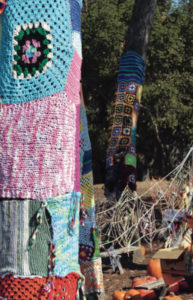 "An example of ""yarn bombing"" on display at the YMCA Pumpkin Patch."