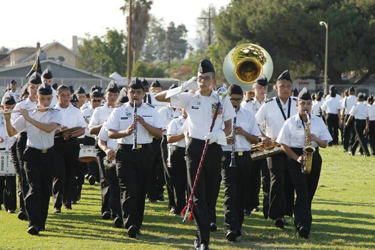 The North Valley Military Institute Marching Band. Photo courtesy Dr. Mark Ryan