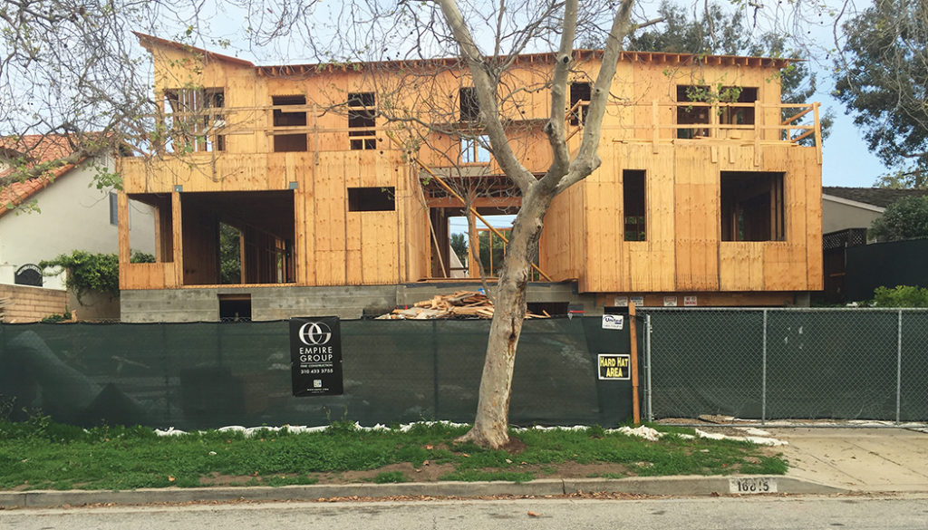 Construction on 16815 Bollinger was stopped for lack of proper permit.