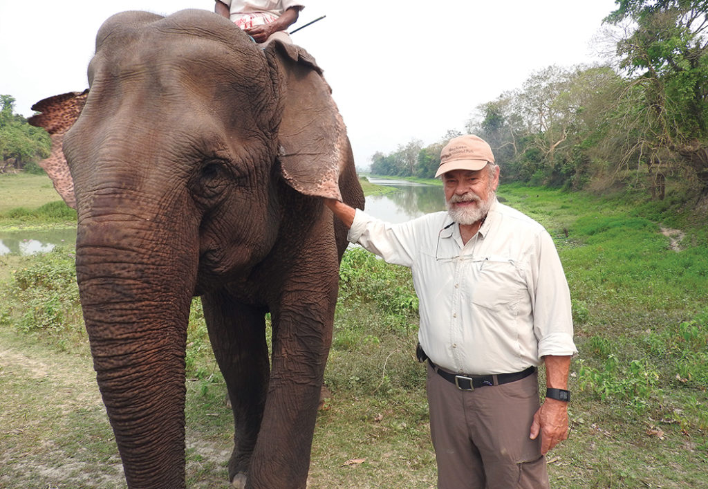 While in India, Joe Edmiston and wife Pepper took a ride on an elephant.