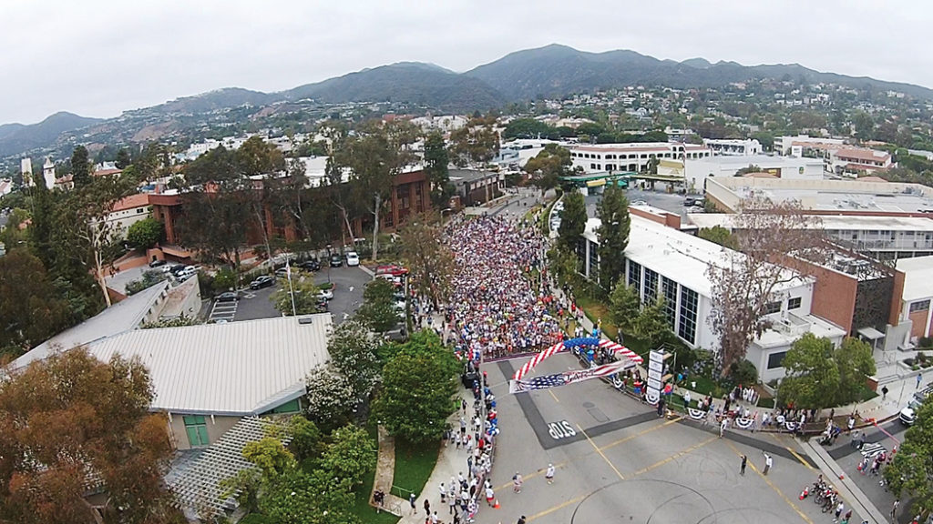 Tyler Newman, a student at Chapman University, captured the start of the race with a camera mounted on a drone. Photo: Tyler Newman