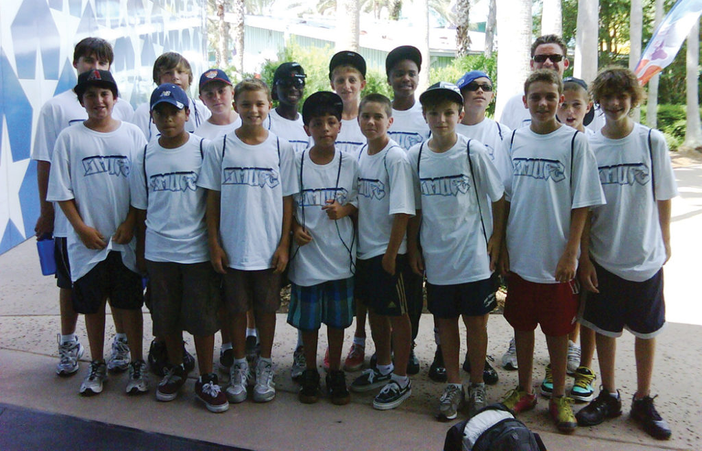 """BJ"" Bradford Jamieson (back row, fourth from the right), 19, who now plays profes- sionally with the Galaxy, played with Palisades residents on the U12 Santa Monica United Club team. His speed and talent were already evident as a child."