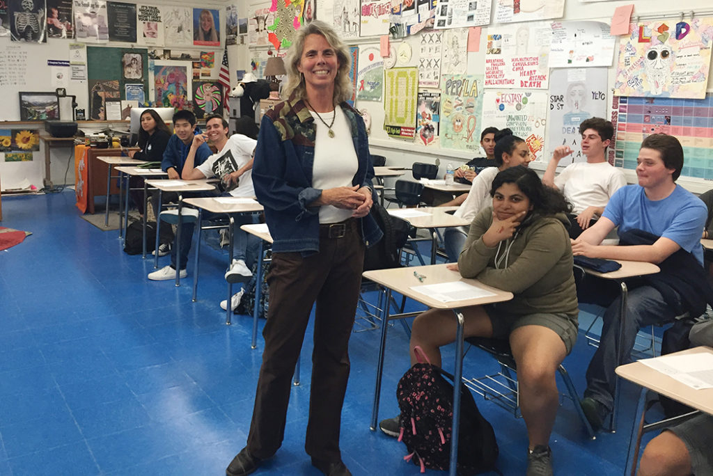 Susan Ackerman teaches the health class at Palisades High School, which allows students access to a sympathetic ear about complex problems.