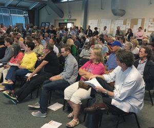 About 400 people from Mar Vista, Kentwood, east Venice and Pacific Palisades listened as L.A. City Planning Department staff discussed proposed zoning changes.