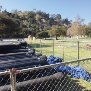 Construction material to be used for Phase II of the Temescal Stormwater Project is near the playground in lower Temescal Canyon.