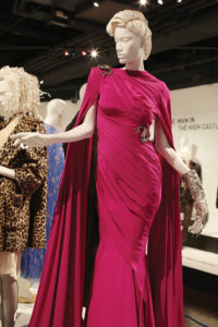 Emmy-nominated designer Lou Eyrich designed this floor-length fuchsia dress for Lady Gaga as part of the television show American Horror Story.