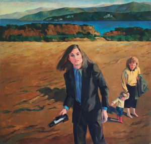 Sandra Fisher with Max and a nanny at the beach in Santa Monica in a painting by Ethel Fisher.