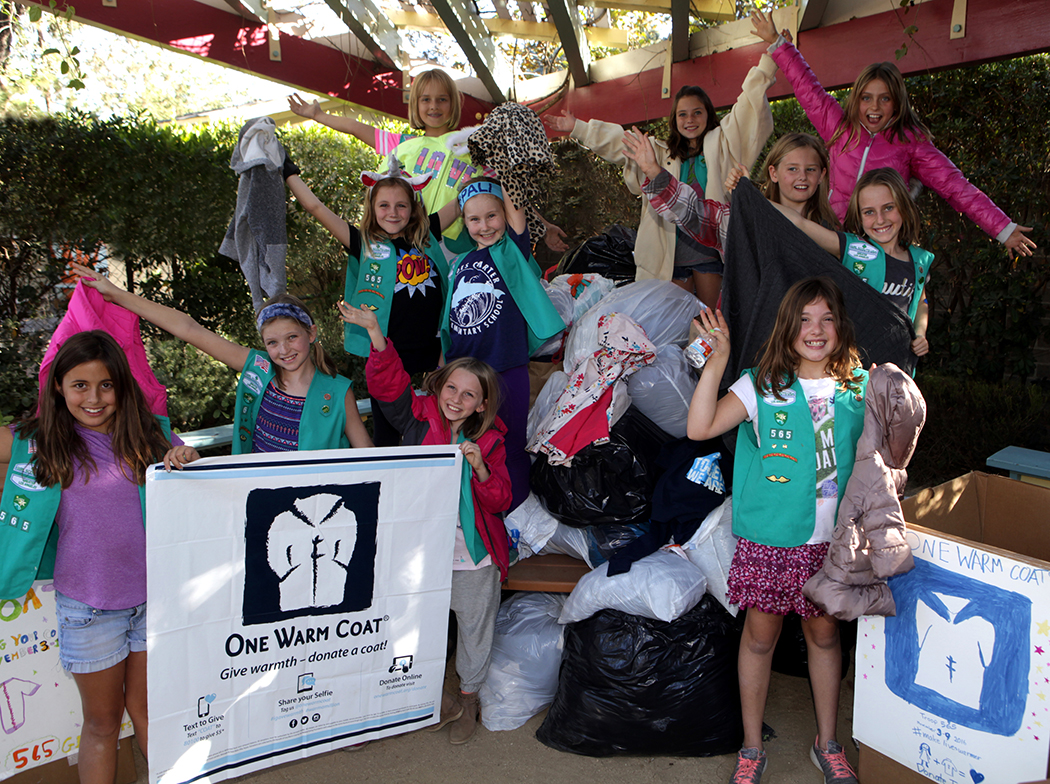 Girl Scouts who helped collect coats were (front row, left to right) Maren Ghaffari, Sky Shannon, Sierra LaLonde, Darby Rastegar, (middle row, left to right) Cate Deiter, Caroline Quigley, Hailey Sugarman, Isabelle Kocher (back row, left to right) Dayna Danielle, Sage Denham and Claire Sibson. Photo: Bart Bartholomew