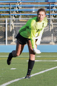 Goalie Katie Wilkes made a save.